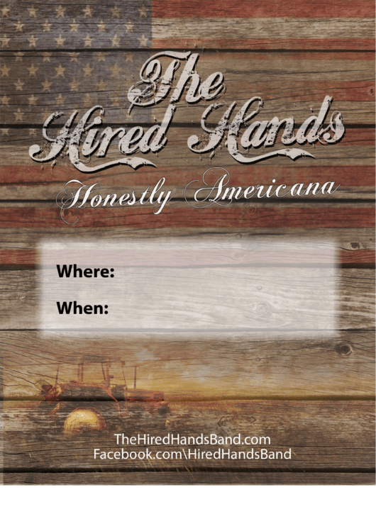 The Hired Hands Band Poster Template