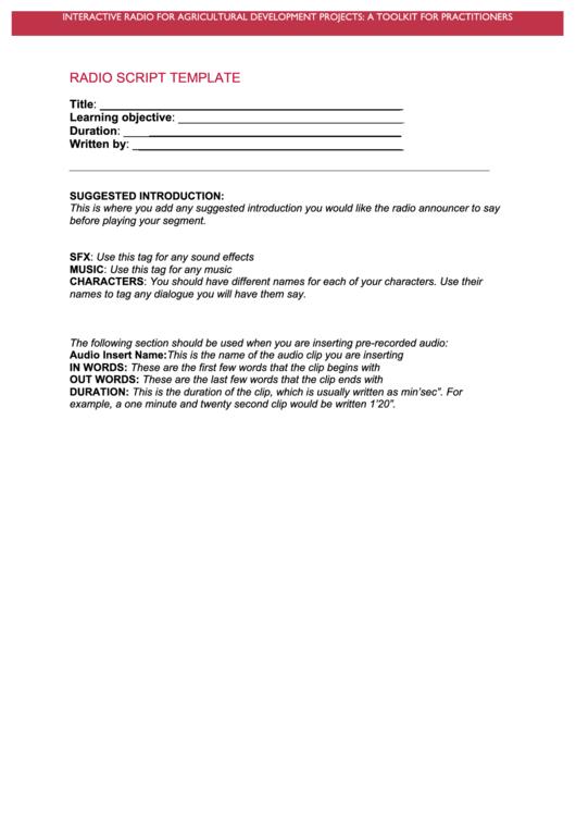 Radio Script Template printable pdf download