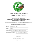 Request For Proposal For Ballot Measure Polling And Outreach Professional Services - City Of Pacific Grove Finance Department