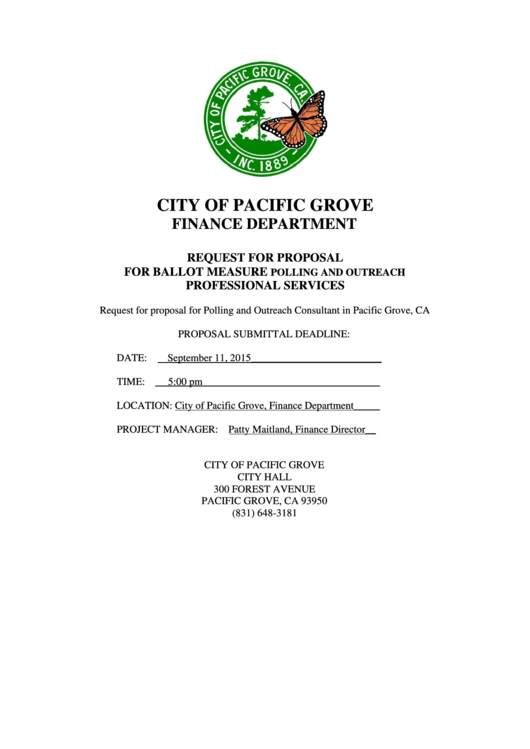 Request For Proposal For Ballot Measure Polling And Outreach Professional Services - City Of Pacific Grove Finance Department Printable pdf