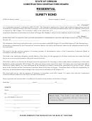Residential Surety Bond - Oregon Construction Contractors Board