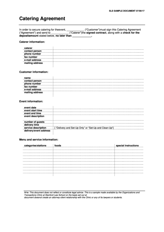 Sample Catering Agreement Template Printable Pdf Download