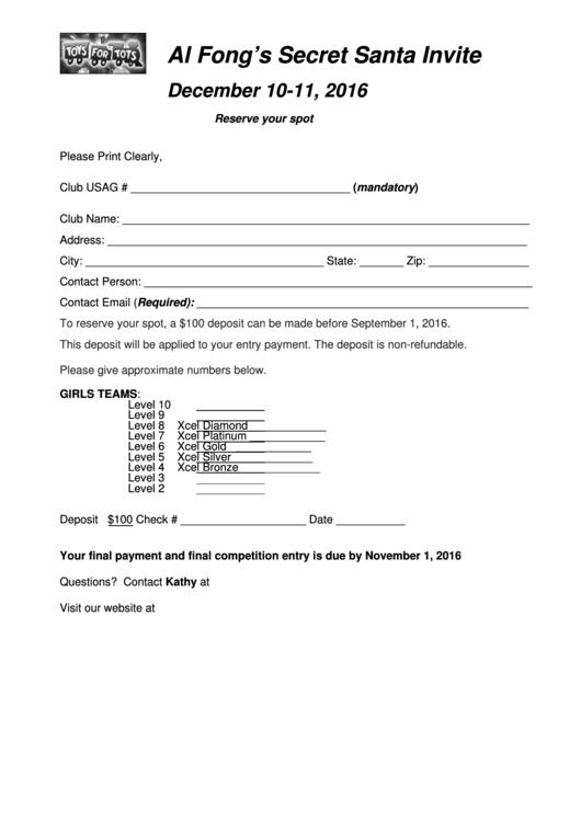 Secret Santa Invite Template Printable pdf