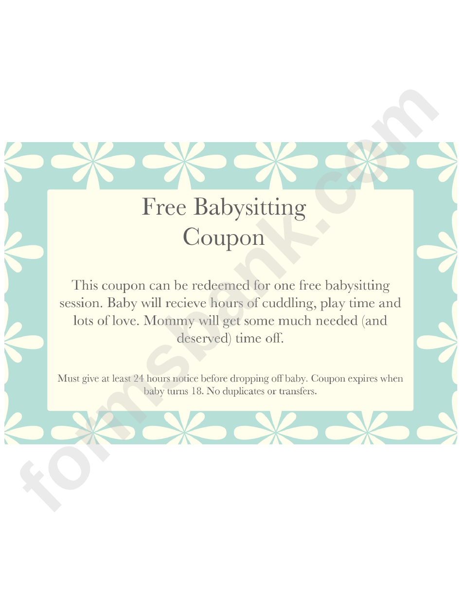 graphic about Printable Babysitting Coupon known as Free of charge Babysitting Coupon Template - Blue Heritage With