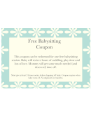 Free Babysitting Coupon Template - Blue Background With White Flowers