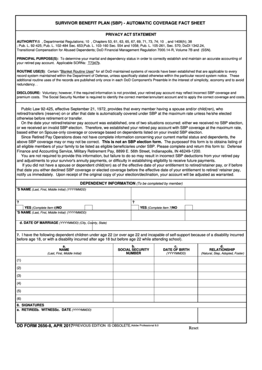 Fillable Dd Form 2656-8 - Sbp Automatic Coverage Fact Sheet - April 2017 Printable pdf