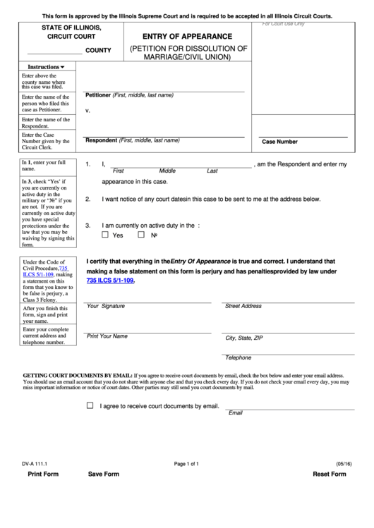 Fillable Form Dv-A 111.1 - Entry Of Appearance (Petition For Dissolution Of Marriage/civil Union) Printable pdf
