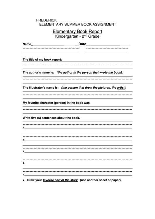 Kindergarten Elementary Book Report Template