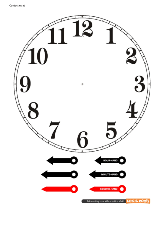 Blank Clock Face With Hands Cut-out Template printable pdf download