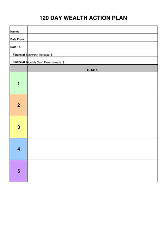 120 Day Wealth Action Plan Template Printable pdf