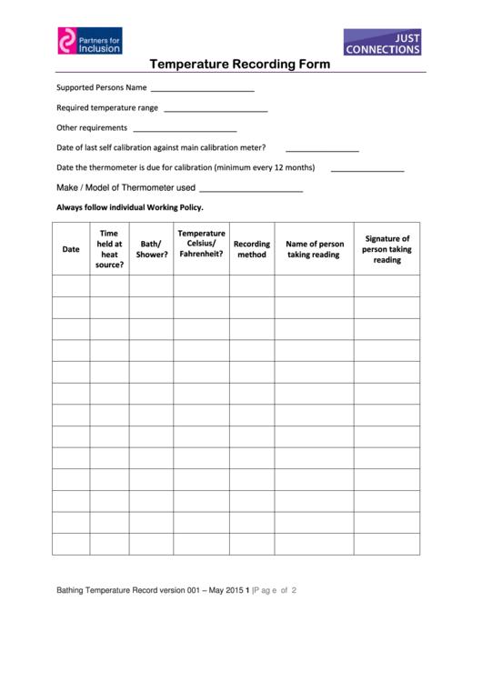 Temperature Recording Form Printable pdf