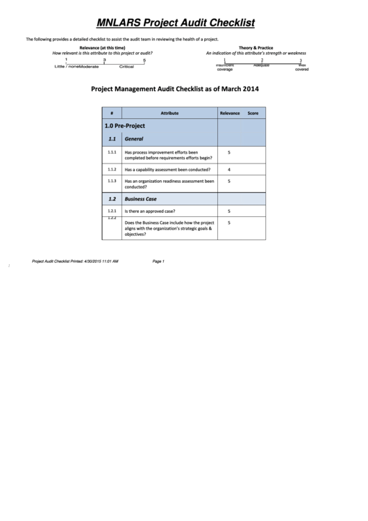 Project Audit Checklist Template