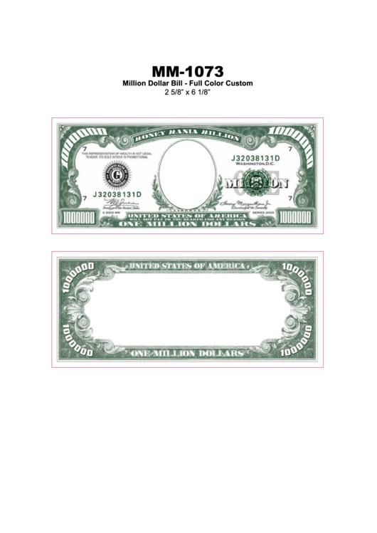 Million Dollar Bill Full Color Custom Template