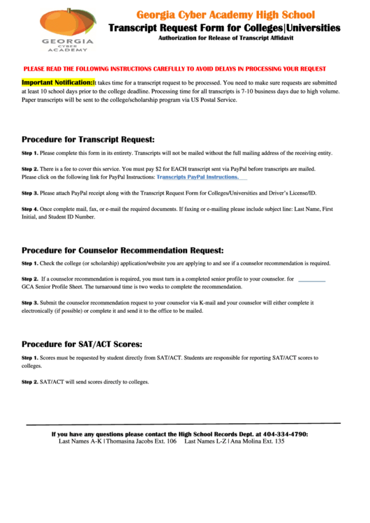 High School Transcript Request Form Printable pdf