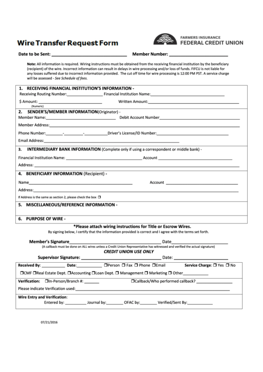 Top 12 Wire Transfer Request Form Templates free to download in PDF ...