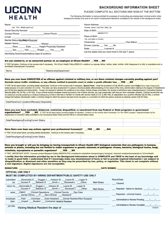 Fillable Form Ssa-89 - Background Information Sheet - Uconn Health Printable pdf