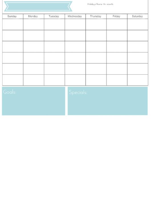 Calendar Template Printable pdf