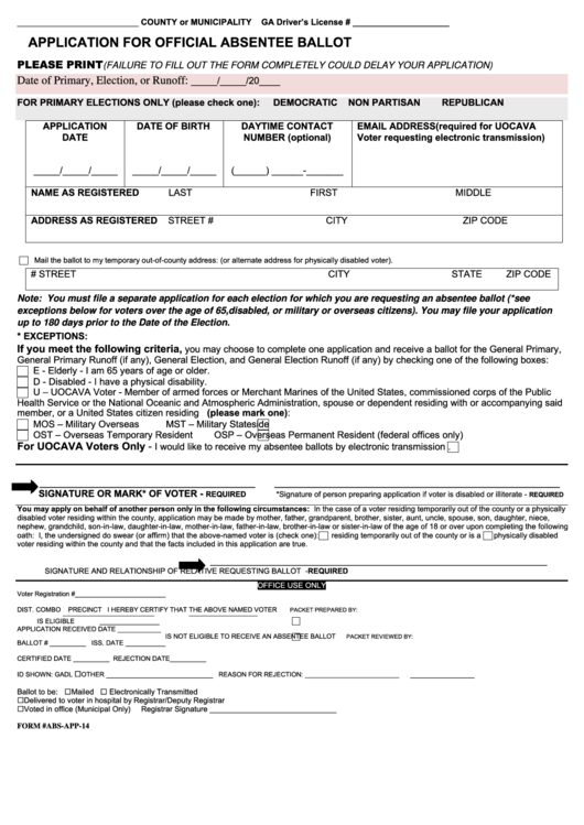second image for Mailed Sample Ballots Delayed Temporarily In Duval County with Form Abs-App-14 - Application For Official Absentee Ballot ...
