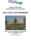 Tax Law Changes - North Carolina Department Of Revenue - 2012