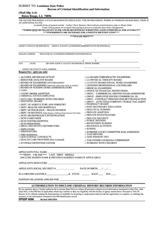 form dpssp 6696  authorization to disclose criminal