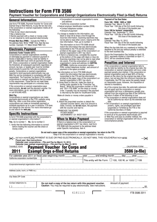 Fillable California Form 3586 (E-File) - Payment Voucher For Corporations And Exempt Organizations Electronically Filed Returns - 2011 Printable pdf