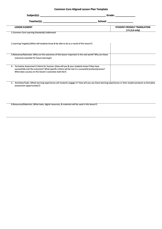 Top Ccss Lesson Plan Templates free to download in PDF format