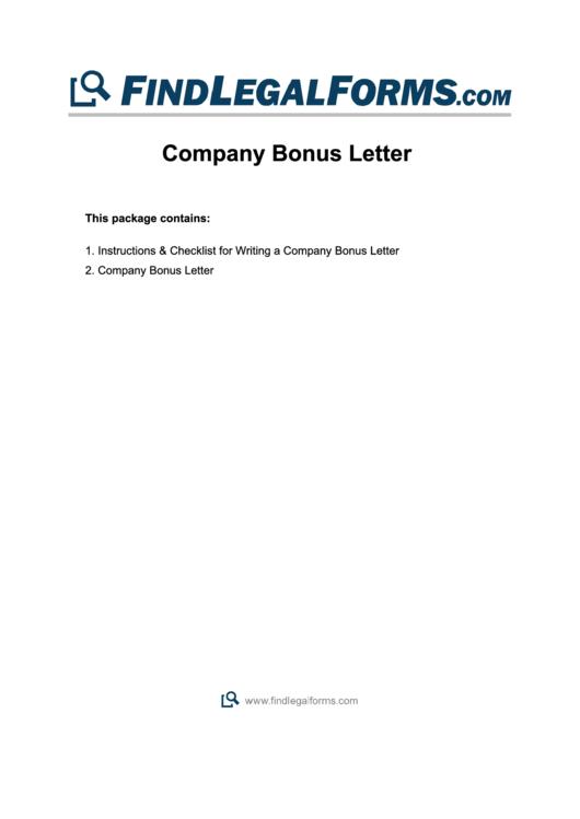 Company Bonus Letter Template Printable pdf