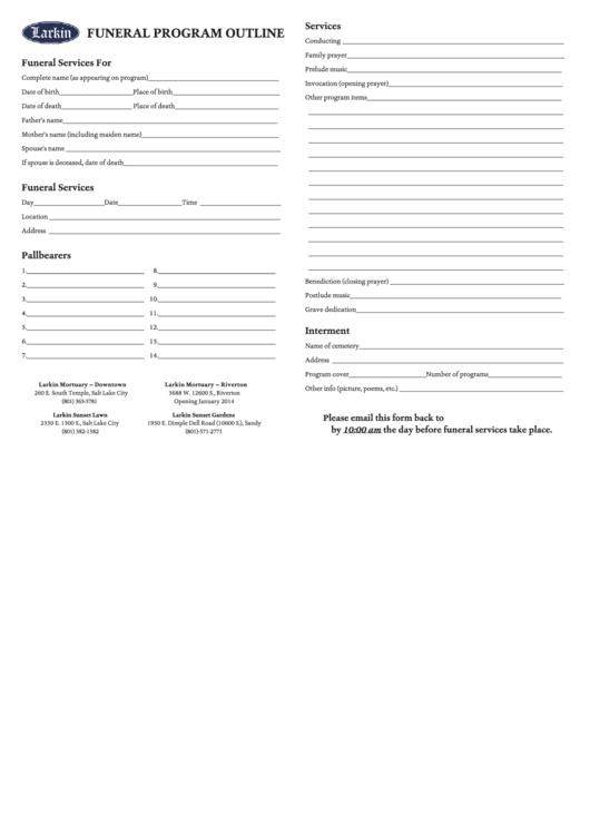 Funeral Program Outline