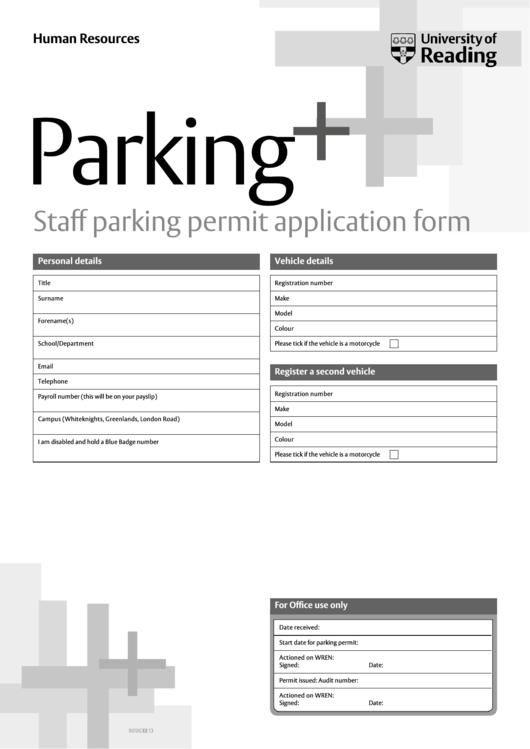 Staff Parking Permit Application Form Printable Pdf Download