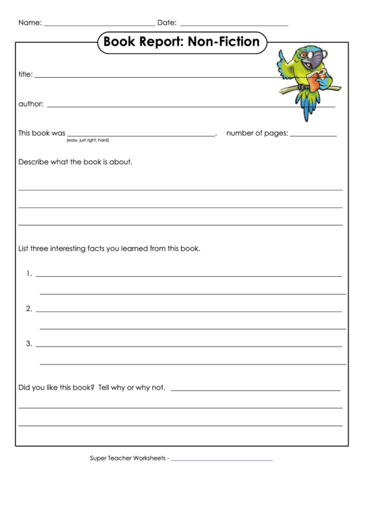 Book Report Template For Non-fiction