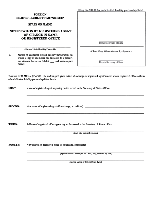 Form Mllp-12d - Notification By Registered Agent Of Change In Name Or Registered Office For A Foreign Limited Liability Partnersillp - Maine Secretary Of State Printable pdf