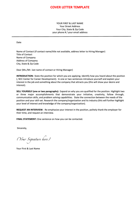 Sample Professional Cover Letter Template Printable pdf