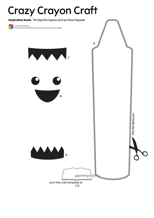 Cut Out Crazy Crayon Craft Template Printable Pdf Download