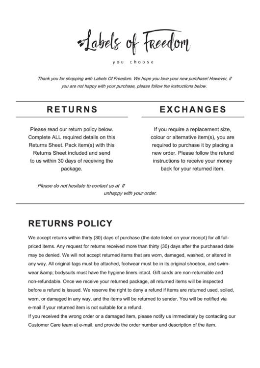 Merchandise Return Form - Apparel Printable pdf