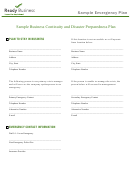 Sample Business Continuity And Disaster Preparedness Plan