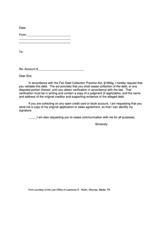 debt collection validation letter template printable pdf
