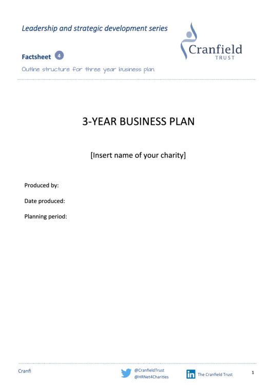 3-Year Business Plan Template - Outline Structure Printable pdf