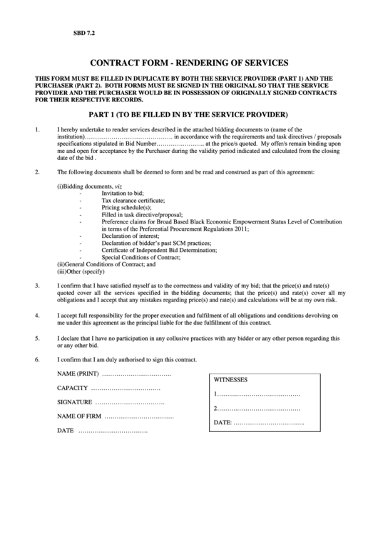 Contract Form - Rendering Of Services Printable pdf