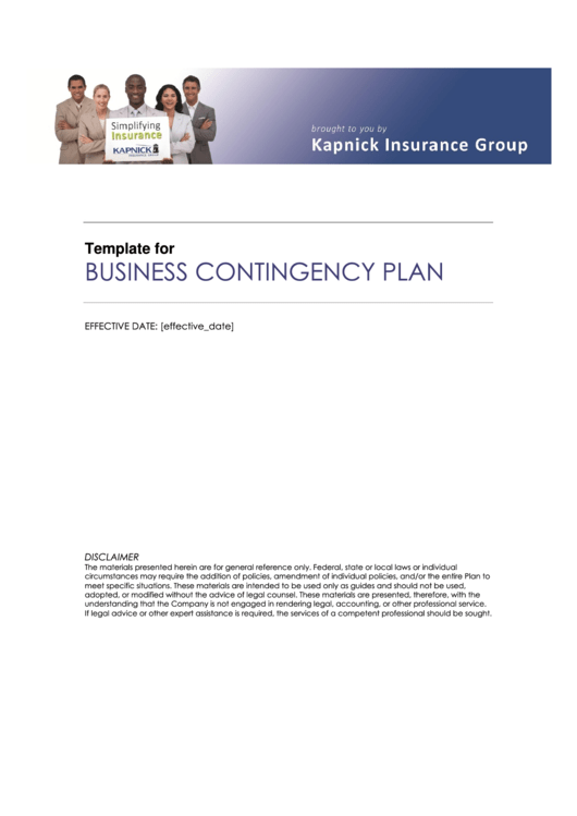 Business Contingency Plan Template