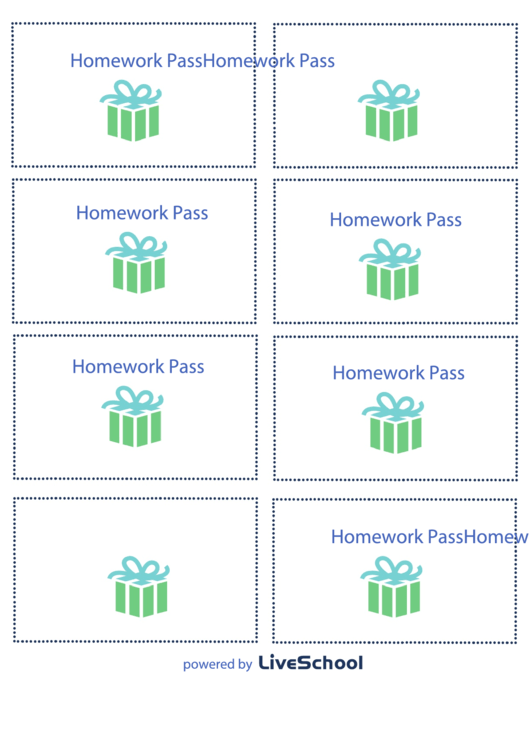 Homework Pass Template Printable Pdf Download