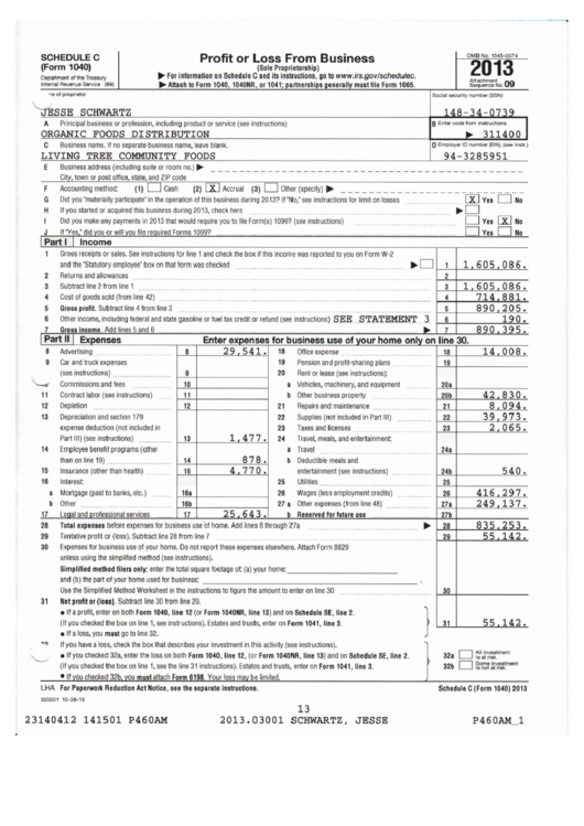 form 1040 schedule c sample profit or loss from business printable