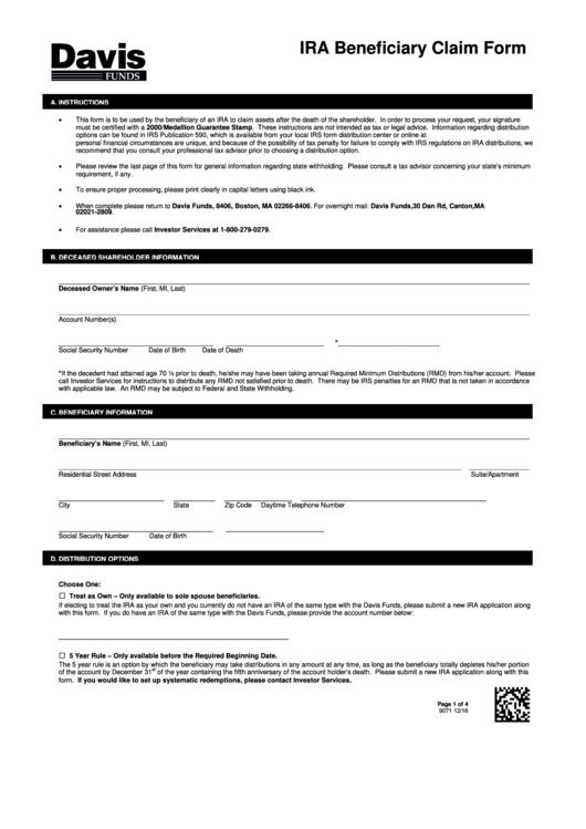 Fillable Ira Beneficiary Claim Form Printable pdf
