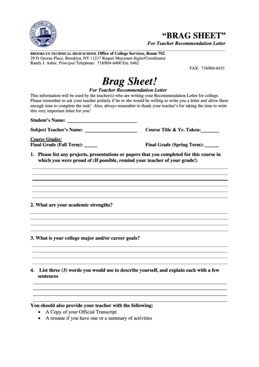 brag sheet for teacher recommendation letter form