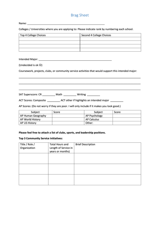 Top 8 Student Brag Sheets Free To Download In Pdf Format
