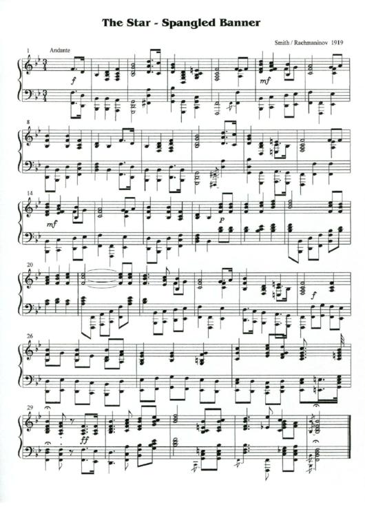 The Star-spangled Bannrer - Piano Sheet Music