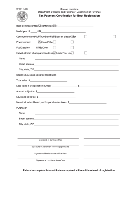 Fillable Form R-1331 - Tax Payment Certification For Boat Registration - 1998 Printable pdf