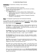 5th Grade Book Report Format Template