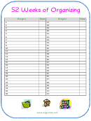 52 Week Project Organizing Checklist Template