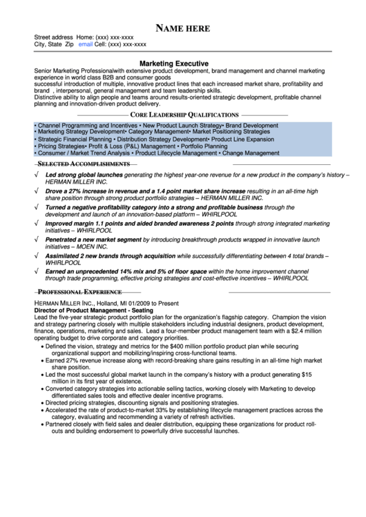 Executive Resume Template
