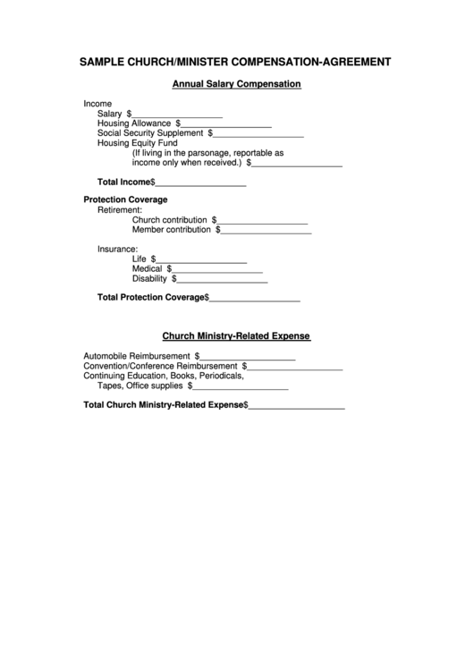 Sample Church Minister Compensation Agreement Template